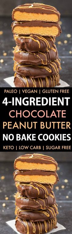No Bake Chocolate Peanut Butter Cookies (Paleo Vegan Keto Sugar Free Gluten Free)-An easy recipe for chocolate peanut butter no bake cookies using just 4 ingredients! Easy delicious low carb cookies which take less than 5 minutes to whip Peanut Butter No Bake, Chocolate Peanut Butter Cookies, Chocolate Recipes, Baking Chocolate, Melted Chocolate, Chocolate Coating, Delicious Chocolate, Homemade Chocolate, Vegan Chocolate