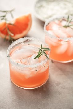 Italian greyhound is a pretty pink gin and grapefruit cocktail made with fresh grapefruit juice, Aperol liqueur and a sparkling rosemary sugar rim.