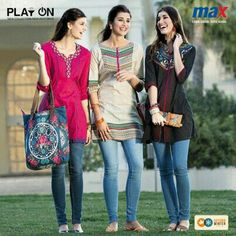 Fun College Street Wear - Chic Kurtas with Jeans and big bags Max Playon via Western Dresses, Indian Dresses, Indian Outfits, Kurta Designs Women, Salwar Designs, Indian Attire, Indian Wear, Salwar Kameez, Churidar