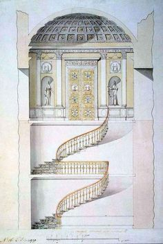 Design for a Staircase in the Cold Baths at Tsarskoye Selo By: Cameron, Charles Great Britain, Early 1780s