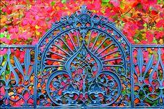 Victorian Garden Gate @Missouri Botanical Garden....❤ the colors