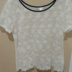 Top Cream color lace top with black pleather trim at neck Tops