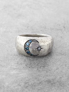 Our Once in a Blue Moon Ring features an engraved Crescent moon of Teal Blue Diamonds and a Brilliant starburst with a shining White Diamond (all VS Quality). This rarity in the sky (the second full m Pandora Jewelry, Jewelry Box, Jewelry Rings, Silver Jewelry, Jewelry Accessories, Silver Rings, Jewelry Design, Gold Jewellery, Jewellery Shops