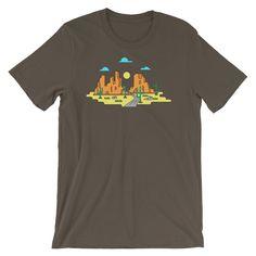 Desert Landscape Infographic style cactus butte Arizona Graphic Tee Short-Sleeve Unisex T-Shirt