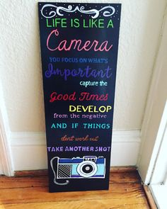 Hand painted Life is like a Camera Sign by MBCreations21 on Etsy