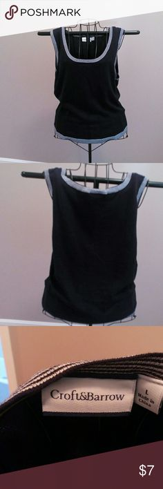 Top Sleeveless sweater top Black trimmed in white and black stripe at arms and bottom.Nice. croft & barrow Tops Tank Tops