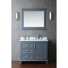 """This vanity features clean lines with traditional styling and remarkable functionality. The whale grey finish is polyurethane-coated for enhanced durability. Storage is provided through three 1/2"""" solid fir drawers and one main storage compartment."""
