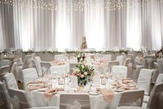 National Wine Centre's Exhibition Hall with gorgeous white and pale blush tones with light touches of greenery..