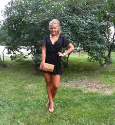 black dress and wedges