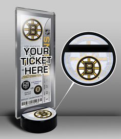 Boston Bruins Hockey Puck Ticket Display Stand - Team Logo or My First Game