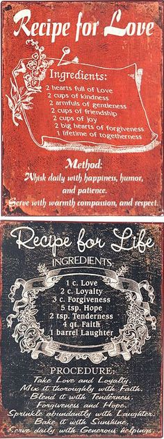 Recipe for Love & Life Set ♥ #quote #wall #art