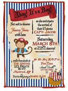 Pirate Baby Shower Invitation by BrizDesignz on Etsy Pirate Baby Shower Ideas, Baby Shower Themes, Baby Boy Shower, Baby Shower Decorations, Baby Shower Gifts, Pirate Invitations, Baby Shower Invitations, Invites, Baby Wedding