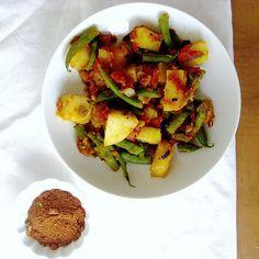 Ethiopian Lentil Stew (Misr Wot) and Ethiopian Green Beans and Potatoes (Yataklete Kilkil)