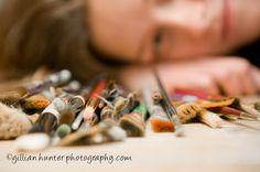 artist portrait, senior portrait, paint brushes