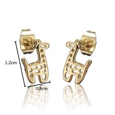 Gold Crystal Hollow Small Deer Stud Earrings online - NewChic