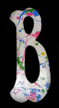 Items similar to Splatter Paint Letters- B on Etsy Mural Painting, Diy Painting, Paintings, Painted Letters, Monogram Letters, Fun Easy Crafts, Crafts For Kids, Colorful Birthday Party, Splatter Art