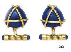 Lapis Lazuli, Gold, Cufflinks at Nelson Rarities,Inc, Portland, Maine
