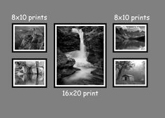 Hanging a Group of 5 Black and White Landscape Photos