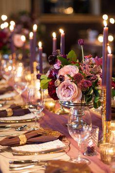 Purple candle lit reception