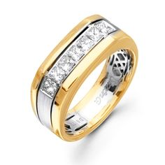 Men's Collection - This stunning 14K white and yellow simon-set mens ring is comprised of .77ctw princess cut white Diamonds. - MR1713-A