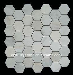 Bathroom floor.  Honeycomb tiles