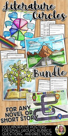 Literature Circles for English Language Arts   Teachers love using literature circles for small reading groups, book clubs, and collaborative learning. These collaborative posters are for their novel or short story's plot diagram, characterization, figurative language, and making connections. Includes procedure, steps, plot diagram, characterization, figurative language, and making connections, reflection questions, literature circle rubric, poster rubrics. #teacher #middleschool