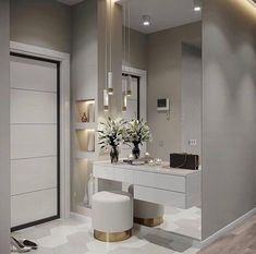 Hall de entrada clean, moderno e lindo. Interior Design Living Room, Living Room Designs, Design Interior, Bedroom Tv Stand, Flur Design, Bedroom Closet Design, Home And Living, Room Decor, House Design