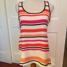 Express Orange Pink White Black Stripe SleevelessTop Slit Open Back Size Small | eBay