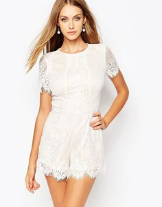 Missguided+Eyelash+Lace+Playsuit