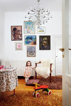 Children's room and art on walls