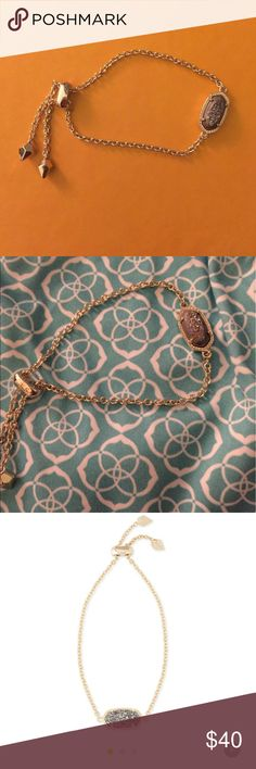 Kendra Scott Elania Adjustable Bracelet Whether you like your bracelets loose or close to the wrist, the Elaina Adjustable Chain Bracelet in Platinum Drusy is a delicate addition to any arm party. Kendra Scott Jewelry Bracelets