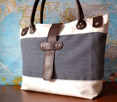 Canvas Leather Tote Large Beach Tote Nautical by renklitasarimlar