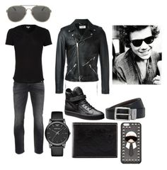 """""""Harry Styles in Dark...."""" by pipergrace93 on Polyvore featuring Nudie Jeans Co., Orlebar Brown, Yves Saint Laurent, Emporio Armani, Neiman Marcus, Dries Van Noten, BOSS Hugo Boss, Fendi, mens and men"""