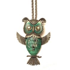 Lucite Owl Necklace, Vintage Owl Pendant Necklace, Mottled Lucite Pendant, 1970s Green and Blue Owl, Collectible Vintage Plastic Jewelry  https://www.etsy.com/listing/256292797/lucite-owl-necklace-vintage-owl-pendant?ref=shop_home_active_5  #lucite #owl #silver #boho #pendant #collectible #vintage #plastic #jewelry #green #blue