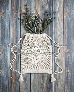 Drawstring Bag Crochet PATTERN - Lotus - Crochet backpack, Shoulder bag crochet pattern, Boho bag, Easy crochet pattern - PDF *This is a crochet patte. Crochet Backpack, Bag Crochet, Crochet Shell Stitch, Crochet Motifs, Crochet Handbags, Crochet Purses, Crochet Chart, Easy Crochet Patterns, Knitting Patterns