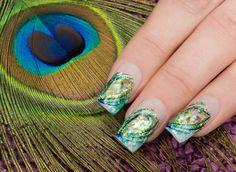 Peacock Feather #Nail #Art Design