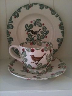 Bird & Berry Cup & Saucer and Bird & Berry inch Plate (Discontinued) Christmas Dishes, Christmas Crafts, Tracy Ann, Emma Bridgewater Pottery, My Emma, Eclectic Kitchen, My Cup Of Tea, Ceramic Table, Christmas Is Coming