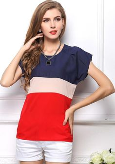 Red Color Block Short Sleeve Loose Chiffon Blouse.
