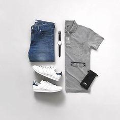Sunday Basics. @jeromeguerzon . . . Download Capsule Wardrobe Guide Link In Bio @capsulewardrobemen . . . #mensfashion #outfitgrid #flatlay #vscogrid