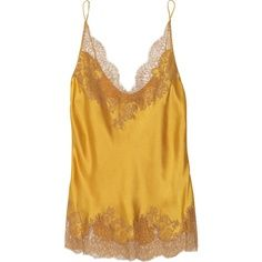 336e90cd744 Mustard-yellow hand-stitched silk-satin camisole with a nude Chantilly lace  trim. Carine Gilson camisole has thin straps and simply slips on.