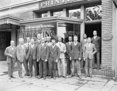 """The Murray Brothers and 14 of their employees standing on a sidewalk outside the """"Washington Tribune / Printing"""" company located in Washington D. Scurlock Studio Records, Archives Center, National Museum of American History, Smithsonian Institution. Famous Black Americans, Black Enterprise, Coloured People, African American History, Black History Month, History Facts, Vintage Photographs, Black People, Black Is Beautiful"""