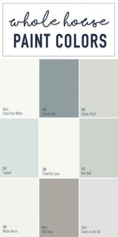 Paint colors for a whole home color palette with calming neutral paint colors from Behr, Benjamin Moore, and Sherwin Williams. Paint colors for a whole home color palette with calming neutral paint colors from Behr, Benjamin Moore, and Sherwin Williams. Interior Paint Colors, Paint Colors For Home, Paint Colours, Blue Grey Paint Color, Living Room Paint Colors, Neutral Kitchen Colors, Playroom Paint Colors, Magnolia Paint Colors, Lowes Paint Colors