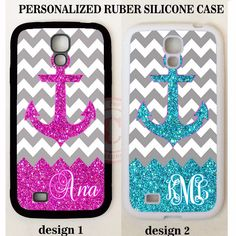 NEW PINK TEAL ANCHOR GREY CHEVRON MONOGRAM Case For Samsung Galaxy S7 S6 NOTE 5 #UnbrandedGeneric