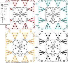 Crochet Granny and Join - Chart ❥ 4U // hf: