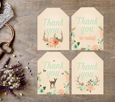 Deer Favor Tags, Baby Shower, Woodland, Printable, Our Little Deer, Coral Mint, Deer Birthday, Woodland Shower, Thank You, Instant Download by SarahFinnDesign on Etsy