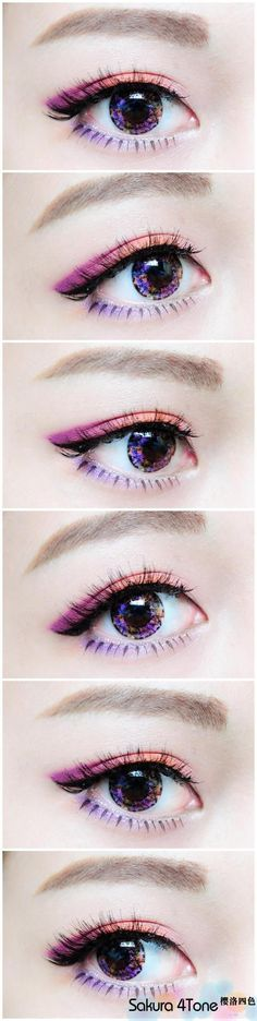 Lilac fire eye make up Asian Korean japanese fashion