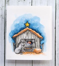 Holiday Card Series 2016 - Day 8. Art Impressions Nativity Try'folds stamp set & dies.  This is adorable!