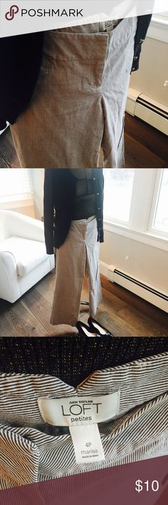 """Blue and white stripped wide leg engineer pants Blue and white stripped wide leg engineer pants. Extremely comfortable; """"Marisa"""" fit from LOFT.  Back pockets and side buttons. I love these pants-so nautical! ⚓️⛵️ LOFT Pants Wide Leg"""