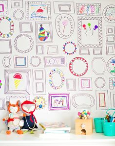 hello, Wonderful - EASY DIY FRAMES WALLPAPER | What a clever idea for the creative child (and adult!) who loves to colour. Photos can be added to centre of frames. Best part - you can remove wallpaper once coloured and put up a new one.
