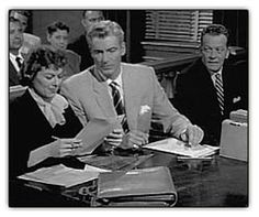 Barbara Hale as Della Street, William Hopper as Paul Drake and William Talman as Hamilton Burger in opening credits of the first season (1957) of TV's classic Perry Mason.